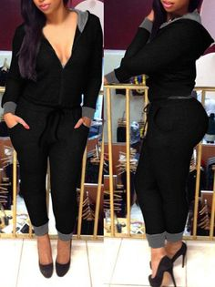 Women's Fashionable Hooded Long Sleeve V-Neck Jumpsuit