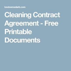 Cleaning Contract Agreement - Free Printable Documents