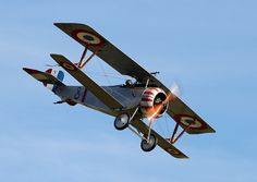 WWI biplane Nieuport 17 in the French Aviation Militaire paint work. Length 5,74 m, span 8,22.