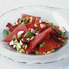 Watermelon Salad with Mint and Crispy Prosciutto by Real Simple. MyRecipes recommends that you make this Watermelon Salad with Mint and Crispy Prosciutto recipe from Real Simple