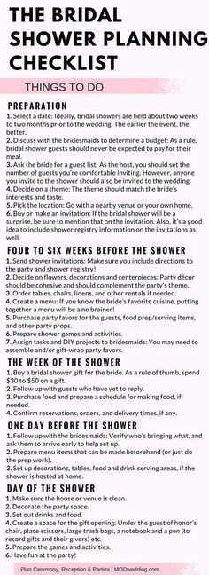 Planning a Baby Shower? 3 Tips For Throwing a Wonderful Baby Shower The Bridal Shower Planning Checklist. How To Host A Baby Shower Checklist Bridal Shower Checklist, Bridal Shower Planning, Bridal Shower Party, Bridal Shower Decorations, Wedding Planning, Bridal Showers, Wedding Parties, Bachelorette Checklist, Party Planning