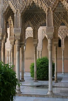 The Alhambra is a palace and fortress complex of the Moorish monarchs of Granada, in southern Spain. It was the residence of the Muslim kings of Granada and their court, but is currently a museum exhibiting exquisite Islamic architecture.
