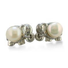 Elephant Shaped Freshwater Pearl Earrings..i want these!!