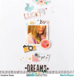 use random cutsie/vday things. cameras, hearts, xos, etcDreams by marivi at Scrapbook Supplies, Scrapbooking Layouts, Scrapbook Pages, Diy Scrapbook, Layout Inspiration, Art Journal Inspiration, Amy Tangerine, Mini Albums, Studio Calico