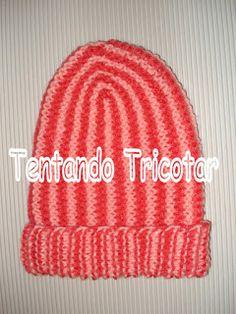Tentando Tricotar: Gorro com listras verticais