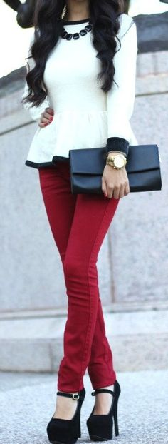 black white red style ♥✤ | Love the pants and shoes and although I love the color white - I'd skip the shirt.