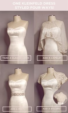 "One Kleinfeld dress, styled four ways from ""The Smart Girl's Guide to Dress Shopping"" - @laurenconrad1"