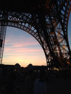 Sunset underneath Eiffel Tower