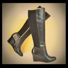 """Selling this """"Michael Kors black bromley wedge leather boots"""" in my Poshmark closet! My username is: crazyposh. #shopmycloset #poshmark #fashion #shopping #style #forsale #Michael Kors #Boots"""