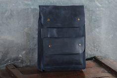 Genuine leather backpack, handmade backpack, school backpack, laptop bag, backpack laptop, men's bag, P001 Blue