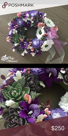 🌸Wall Flower Wreath Arrangement 🌸 Wall Flower Wreath Arrangements. Home Decor. Warming gift, holiday gift.  Handmade Flower Floral Decoration Ornament made from polymer Deco Clay. Other