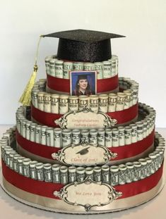 Attractive Money Cake Decorations pertaining to How I Built My Stepdaughter& Money Cake – Maria Kang Picture Money Birthday Cake, Money Cake, Birthday Gifts, Money Lei, Earn Money, Birthday Pizza, Graduation Celebration, Graduation Day, College Graduation Cakes