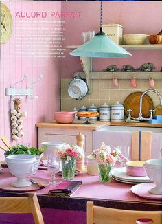 pink kitchen - I would probably reverse the color scheme and do blue with pink accents