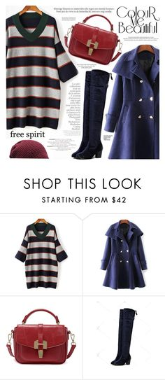 """""""Striped V-Neck Sweater Dress"""" by katjuncica ❤ liked on Polyvore featuring Haute Hippie, By Terry, Louis Vuitton, stripeddress, sweaterdress, OverTheKneeBoots, capecoat and VneckDress"""