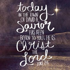 """Today in the town of David a Savior has been born to you; he is Christ the Lord."" Luke 2:11"