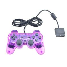 Hot Sale Transparent Color Wired Controller For Sony Playstation 2 Gamepad Double Vibration Clear Controle For Sony PS2 Joystick