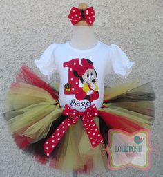 Baby Minnie Mouse Red, Black and Yellow Birthday Number Tutu -Personalized Birthday Tutu,Sizes 6m - 14/16 on Etsy, $62.00
