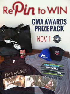 Only ONE week left until the 46th Annual CMA Awards! REPIN for your chance to win this CMA gift bag! A winner will be drawn after the Nov. 1st Awards - Good Luck!