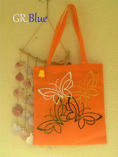 Handmadendecorated shopping bag. A beautiful summer color.TANGERINE Keep calm summer is here!