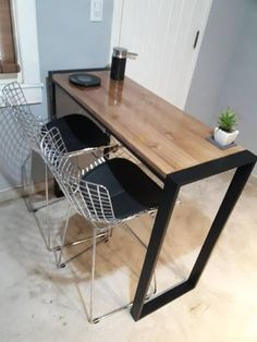 Barra Desayunador+2banq. Hierro Y Madera Industrial Calidad! - $ 9.500,00 en Mercado Libre Diy Furniture Building, Loft Furniture, Custom Furniture, Table Furniture, Studio Apartment Design, Kitchen Modular, Table Bar, Wood Interior Design, House Front Design