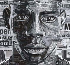 "Martin O'Neil - ""Mario Balotelli Print"" This artwork shows what can be done with collage. What is especially interesting is that the words were not only chosen to make make the portrait but also to describe the person. Face Collage, Collage Portrait, Abstract Portrait, Portraits, Paper Collage Art, Collage Art Mixed Media, A Level Art Sketchbook, Newspaper Art, Men's T Shirts"