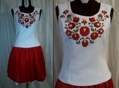 Matyó mintás menyecskeruha Hungarian Embroidery, Folk, Tank Tops, Dresses, Women, Fashion, Embroidered Dresses, Halter Tops, Gowns