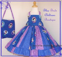 Snow White Disney Princess Dress & Purse - BBCB Boutique - 3T 4T Birthday Party Pageant Purple on Etsy, $40.00
