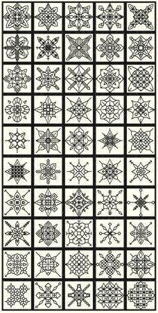 50 Blackwork Snowflakes