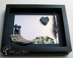 Unique Engagement Gift- Pebble Art Couple Design with Water Feature - Personalized Couple's Gift -  Pebble Art - COUPLE'S GIFT by SticksnStone on Etsy