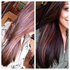 Carmel peek a boo highlights with dark brown hair