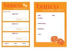 Free printable bunco invitation and score board for a couple's night