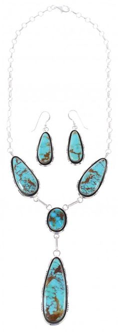 Navajo Indian Kingman Turquoise And Genuine Sterling Silver Tear Drop Link Necklace Earrings Set www.silvertribe.com