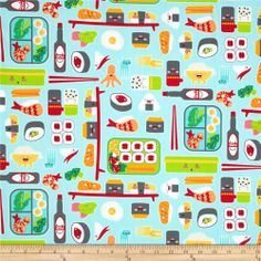 bento box sushi elements in aqua - would be adorable for pot holders/oven mitts or even cloth napkins for sushi night at home.