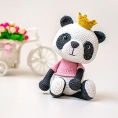 NEW PATTERN ❤️ Meet Susie the Panda. 🐼 She is a little princess with fancy crown. 👑 She is playful and shy at the same time, childish and… Crochet Panda, Crochet Bear, Crochet Patterns Amigurumi, Cute Crochet, Amigurumi Doll, Crochet Toys, Double Crochet Decrease, Single Crochet Stitch, Crochet Hook Sizes
