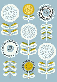 A floral illustration art print inspired by sunflowers for my Etsy shop,