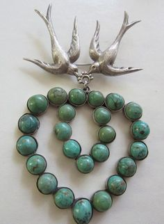 Vintage Costume Jewelry - Masterful 980 Silver Swallows & Turquoise Heart Huge Brooch