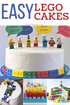 Try these Easy LEGO Cakes that you can actually make! All of these cakes include recipes and instructions to help you. Great for LEGO birthday parties or any time! Birthday Cake For Mom, Lego Birthday Party, Birthday Cupcakes, Birthday Boys, Birthday Nails, Birthday Ideas, Birthday Parties, Themed Parties, Boys Birthday Cakes Easy