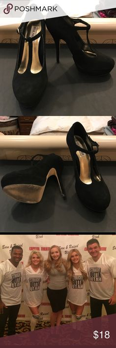 t-strap platform heels worn, but still in great condition! only shows wear on the bottoms. sooo cute! Steve Madden Shoes Heels