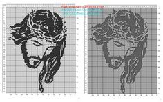 Jesus face free filet crochet pattern in religious category 160 squares Filet Crochet Charts, C2c Crochet, Free Crochet, Crochet Afghans, Afghan Patterns, Knit Patterns, Beading Patterns, Jesus Face, Crochet Projects