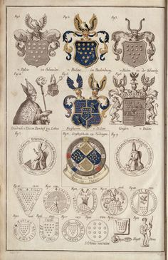 deutschemark:  griffinrampant:  deutschemark:  Coats of arms of the Bülow family c. 1780 (source)  These arms are variations on the central coat of azure, fourteen bezants in pile (presumably that of theBülow head of family)  Acording to the description,the central coat of arms was used by the Barons of Bülow. My personal favorite is no. 8, coat used by Bishop of Lebus Dietrich von Bülow.