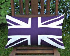 Pillow Union Jack purple London British English lumbar UK Britain flag cushion cover 12 x 18 inches