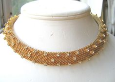 Vintage signed Hobe rhinestone mesh choker necklace #Hobe