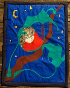 Unique Baby Blanket Nightblueappliqued embroidery by kuskatdesigns