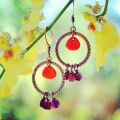 Orange peel earrings to match necklace ~ 16mm antiqued brass connector with Czech glass & beautiful garnet