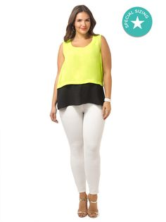 Lime Colorblock Crop Top by @citychiconline, Available in sizes XS-XL