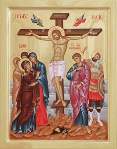 Crucifixion of Jesus Mother Mary and his apostles crying Religious Images, Religious Icons, Religious Art, Jesus Mother, Mother Mary, Faith Of Our Fathers, Crucifixion Of Jesus, Jesus Christ, Paint Icon