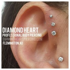 Triple forward helix, and tragus