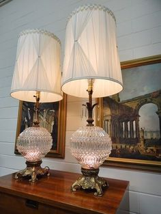 Vintage Hollywood Regency Crystal Pair Table Lamps Prisms Mid Century Cast  Iron