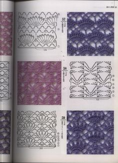 If you looking for a great border for either your crochet or knitting project, check this interesting pattern out. When you see the tutorial you will see that you will use both the knitting needle and crochet hook to work on the the wavy border. Crochet Motifs, Crochet Borders, Crochet Diagram, Crochet Stitches Patterns, Crochet Chart, Love Crochet, Knitting Stitches, Crochet Designs, Crochet Lace