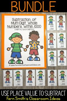 Are You a Third Grade Teacher Teaching How to Use Place Value to Subtract? This post including Lesson Plans, Centers, Task Cards, Color By Numbers & More Resources for help teaching How to Use Place Value to Subtract, Common Core Standard 3.NBT.A.2 - Fluently add and subtract within 1,000 using strategies and algorithms based on place value, properties of operations, and/or the relationship between addition and subtraction. Perfect for 3rd grade math teachers. #FernSmithsClassroomIdeas